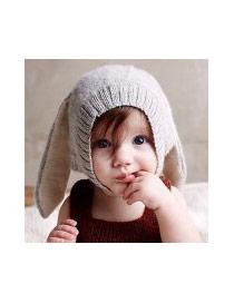 Cute Black Pure Color Decorated Rabbit Shape Hat