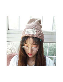 Fashion Dark Gray Pin Decorated Pure Color Design Simple Kintting Hat
