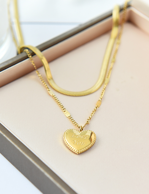 Collar De Carta De Amor De Doble Capa De Acero Titanio