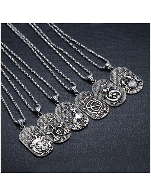 Collar De Diamantes Negros Del Zodiaco Griego Antiguo De Acero Inoxidable