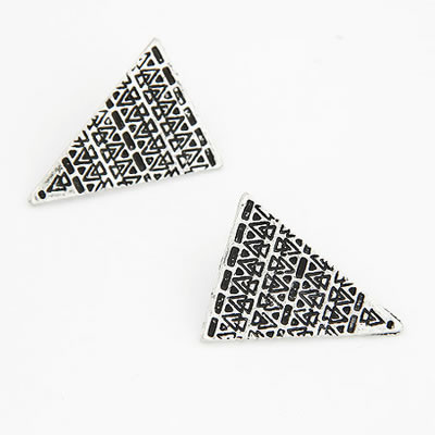 Mens Antique Silver Carve Patter Triangle Shape Alloy Stud Earrings
