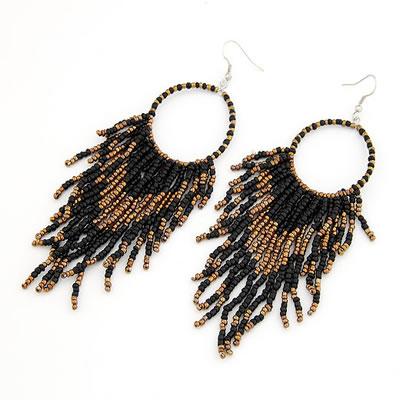 Stretch Black Handmade Bead Tassels