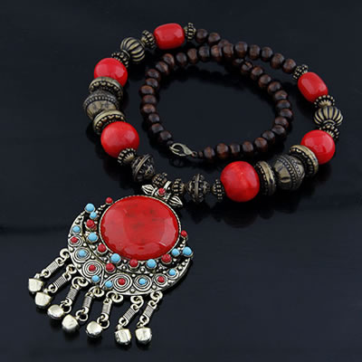 Ladies Red Gem Stone Alloy Bib Necklaces