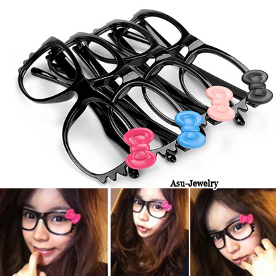 Sullen With Color Will Be Random Frame Lovely Kittly Bow Tie Big Frame Plastic Sunglasses