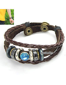 Lovable Coffee Weave Design PU Korean Fashion Bracelet
