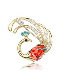 (18K+padparadscha) Luxury romantic Austrian crystals brooch-FirePhoenix