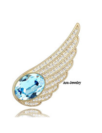 Display Blue Brooch Alloy Crystal Brooches