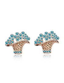 Limited Rose Rold+Sea Blue Blue Earrings Alloy Crystal Earrings