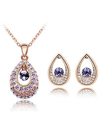 Sapphire Rose Gold+Purple Set-Thindu Princess Alloy Crystal Sets