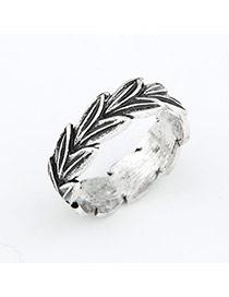 Locket Silver Color Leaf Alloy Korean Rings