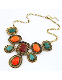 Novelty Multicolour Simple Geometric Square Alloy Bib Necklaces