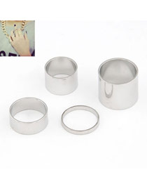 Royal Silver Color Simple Fingernail Style Alloy Korean Rings