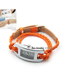 Religious Orange Roman Dial PU Ladies Watches