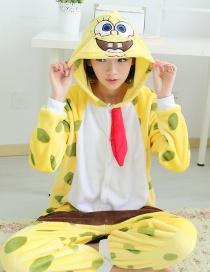 Fashion Yellow Spongebob Squarepants Shape Decorated Nightgown