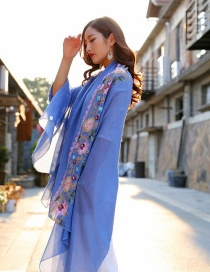 Fashion Blue Embroidery Flower Decorated Scarf