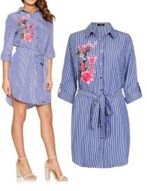 Fashion Blue+white Stripe Pattern Decorated Dress