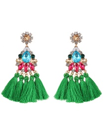 Aretes Cristales De Moda Decorados Con Borlas