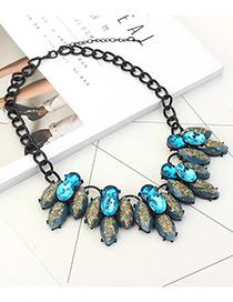 Trendy Blue Oval Shape Diamond Decorated Necklace
