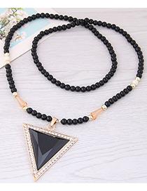 Fashion Black Triangle Shape Decorated Long Necklace