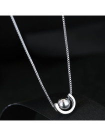 Fashion Silver Color Semicircle Shape Decorated Necklace