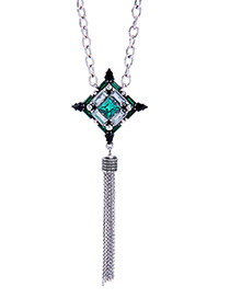 Fashion Silver Color Long Tassel Decorated Simple Necklace