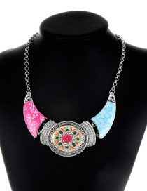 Fashion Multi-color Flower Pattern Decorated Necklace
