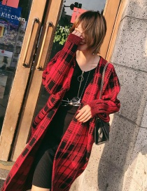 Trendy Red Grid Pattern Decorated Bat Sleeves Knit Cardigan