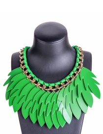 Exaggerated Green Leaf Shape Decorated Necklace