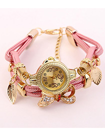 Elegant Pink Bowknot Shape Decorated Watch