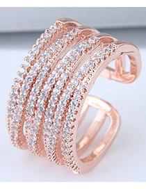 Fashion Rose Gold Multi Layer Design Opening Ring