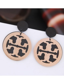 Fashion Rose Gold+black Round Shape Decorated Earrings