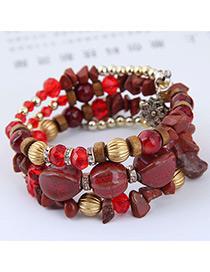 Elegant Red+yellow Beads Decorated Multi-layer Bracelet