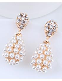 Elegant Gold Color Full Pearls Design Water Drop Shape Earrings