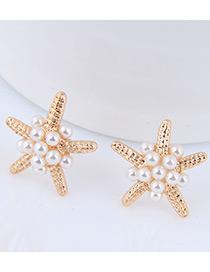 Elegant Gold Color Starfish Shape Design Pure Color Earrings