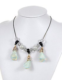 Fashion Light Blue Pearls&flowers Decorated Simple Necklace