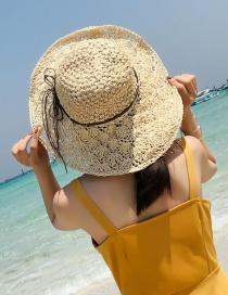 Sombrero De Paja De Color Puro Con Tirante Moño De Moda