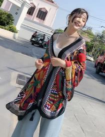 Fashion Black Flower Pattern Decorated Shawl