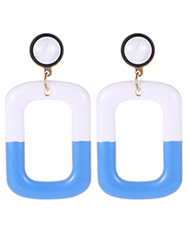 Fashion Blue Square Shape Decorated Color-matching Earrings