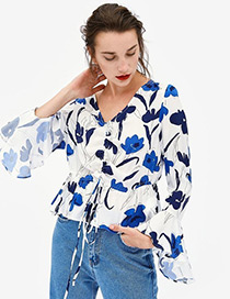 Blusa Cuello V Estampada De Flores De Moda
