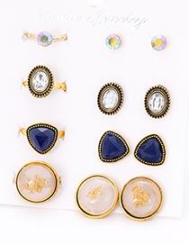 Fashion Blue Round Shape Decorated Earrings&rings Set (12 Pcs )