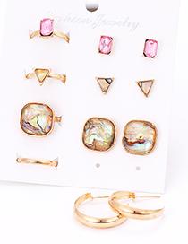 Fashion Gold Color Square Shape Decorated Earrings&rings Set (12 Pcs )