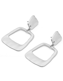 Fashion Silver Color Square Shape Decorated Earrings