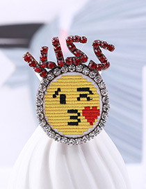 Fashion Red+yellow Letter Pattern Decorated Brooch