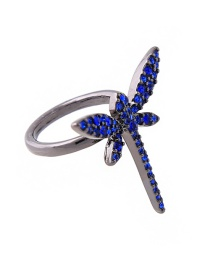 Fashion Blue Dragonfly Shape Design Simple Ring