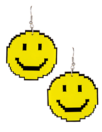 Elegant Yellow Smiling Face Shape Decorated Earrings