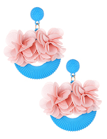 Elegant Blue Flowers Decorated Simple Earrings