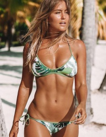 Sexy Green Leaf Pattern Decorated Bikini
