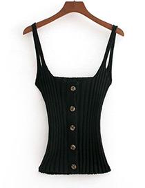 Fashion Black Pure Color Design Suspender Vest