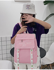 Fashion Pink Embroidered Ribbon Decorated Backpack