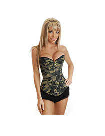 Sexy Olive Camouflage Pattern Decorated Corset